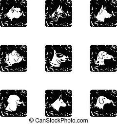Doggy icons set, grunge style
