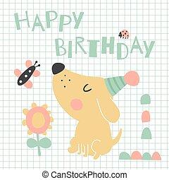 doggy - vector illustration, cute dog, happy birthday text