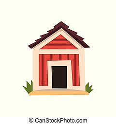 doghouse, illustratie, vector, achtergrond, wit rood