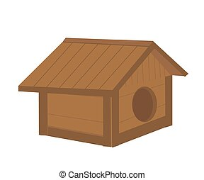 Doghouse on a white background. Cartoon. Vector