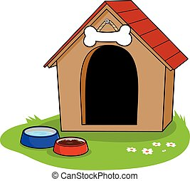 Doghouse - A doghouse and bowls of water and dog food.