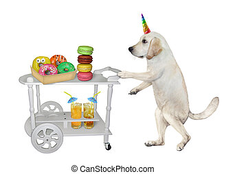 Dogicorn near table trolley with donuts