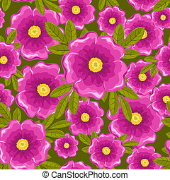Dogrose seamless green pattern.