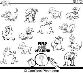 dogs, страница, игра, coloring, своего рода, один, книга