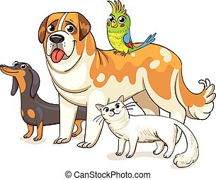 Dogs, a cat and a parrot standing together