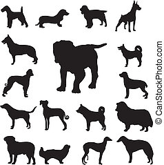 A set of silhouettes of different breeds of dogs