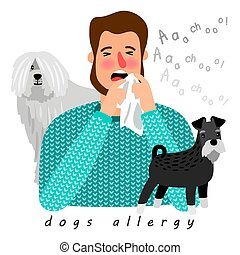 Dogs allergy desease poster, man with running nose, vector ...