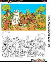 dogs and cats characters group color book