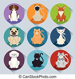 dogs and cats pets characters