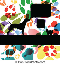 Dogs and dog footprints silhouettes colorful illustration...