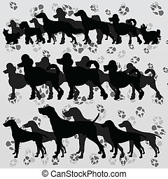 Dogs and dog footprints silhouettes illustration