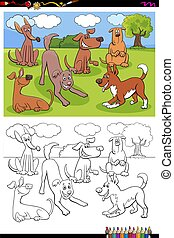 dogs animal characters group coloring book page