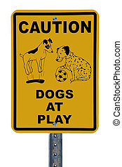 Dogs at Play sign - Park sign designating area for dogs to...