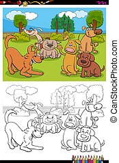 dogs cartoon characters group coloring book page