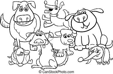 dogs cartoon coloring book