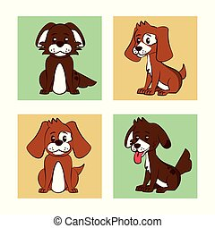 Dogs cartoon icons
