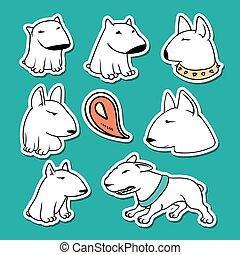 Dogs characters pitbull. Funny animals cartoon.