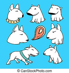 Dogs characters pitbull. Funny animals cartoon. Doodle sticker pets