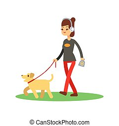 Dogs clean walking concept - girl walks dog isolated on white