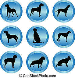 dogs collection in buttons - vector