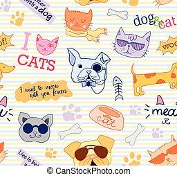 dogs., cute., rigolote, modèle, seamless, chats, vector., beau