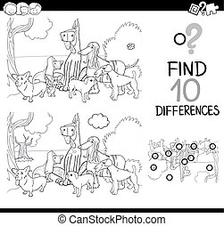 dogs difference game coloring page - Black and White Cartoon...