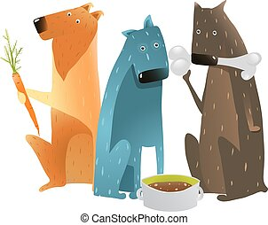 Dogs Eating Different Types of Food