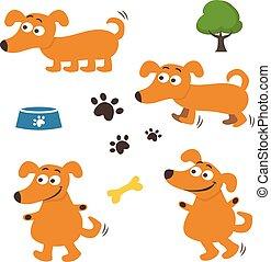 dogs., ensemble, illustration, vecteur, dessin animé, heureux