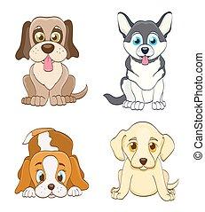 dogs., ensemble, simple, illustration, vecteur, chiot, dessin animé