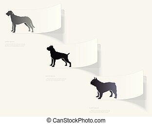 Dogs. Flat sticker with shadow on white background