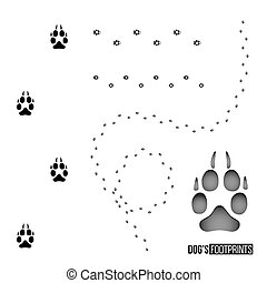 Dog's footprint set isolated on white background. Vector design element.