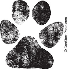 Dogs footprint - Isolated black dogs footprint on the white...