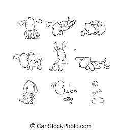 dogs., furcsa, állhatatos, karikatúra