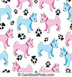 dogs., giocattolo, modello, seamless, terrier, russo