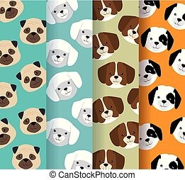 dogs heads pets patterns