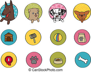 Dogs icons set