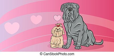 dogs in love valentine card