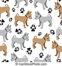 dogs., játékszer, motívum, seamless, terrier, orosz
