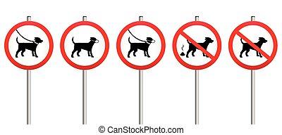 Dogs On Leads Muzzle Dirt Mandatory - Mandatory signs...