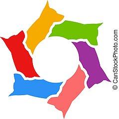 dogs., pastor, alemão, ilustração, vetorial, círculo