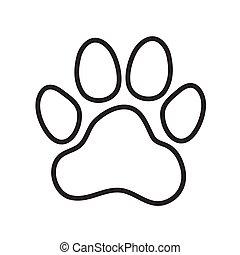 (dog's), patte, animal, impression