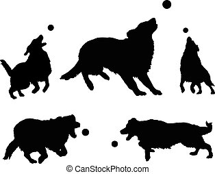 Dogs Playing With Ball is an illustration of five dogs or...