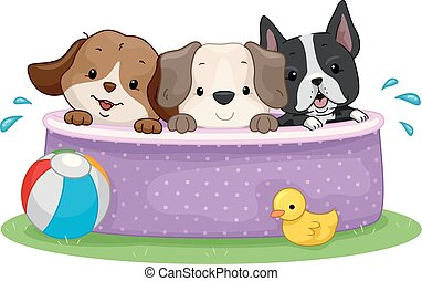 Dogs Pool Party Illustration