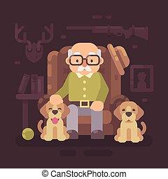 dogs., reposer, sien, vieux, séance, fauteuil, chasseur, deux, plat, grand-père, illustration, personne agee, puppies., homme
