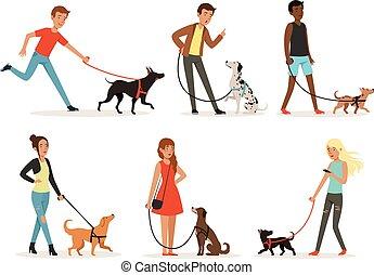 dogs., rigolote, marche, friendship., gens, style, animal, illustrations, dessin animé, heureux