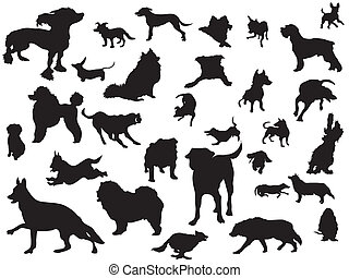 dogs silhouette set