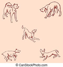 Dogs. Sketch pencil. Drawing by hand. Vintage colors Vector