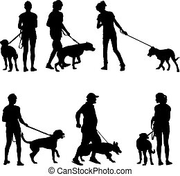 dogs., sylwetka, wektor, illustration., ludzie