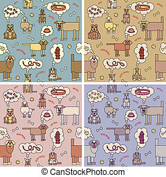 Dogs Thinking Pattern - A vector repeating pattern of dogs...