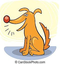 Dog's tricks: bark - llustration of funny dog barking